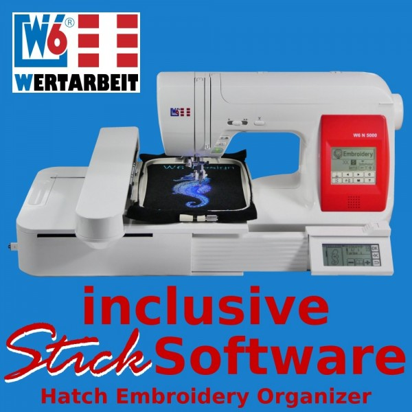 W6 Näh- und Stickmaschine N 5000 + EU5 (130 x 200 mm) inklusive Hatch Organizer Sticksoftware